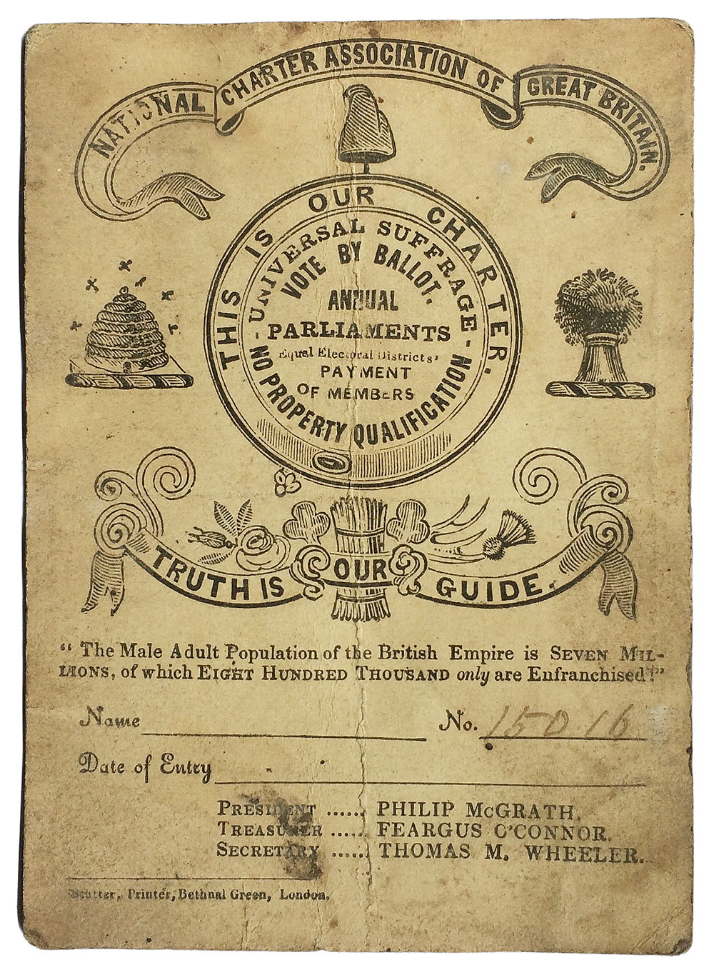 Image of a membership card that includes symbols of a cap of liberty; a bee hive, a bushel of corn, decoration denoting different parts of the country, and an Irish shamrock and Scottish thistle.