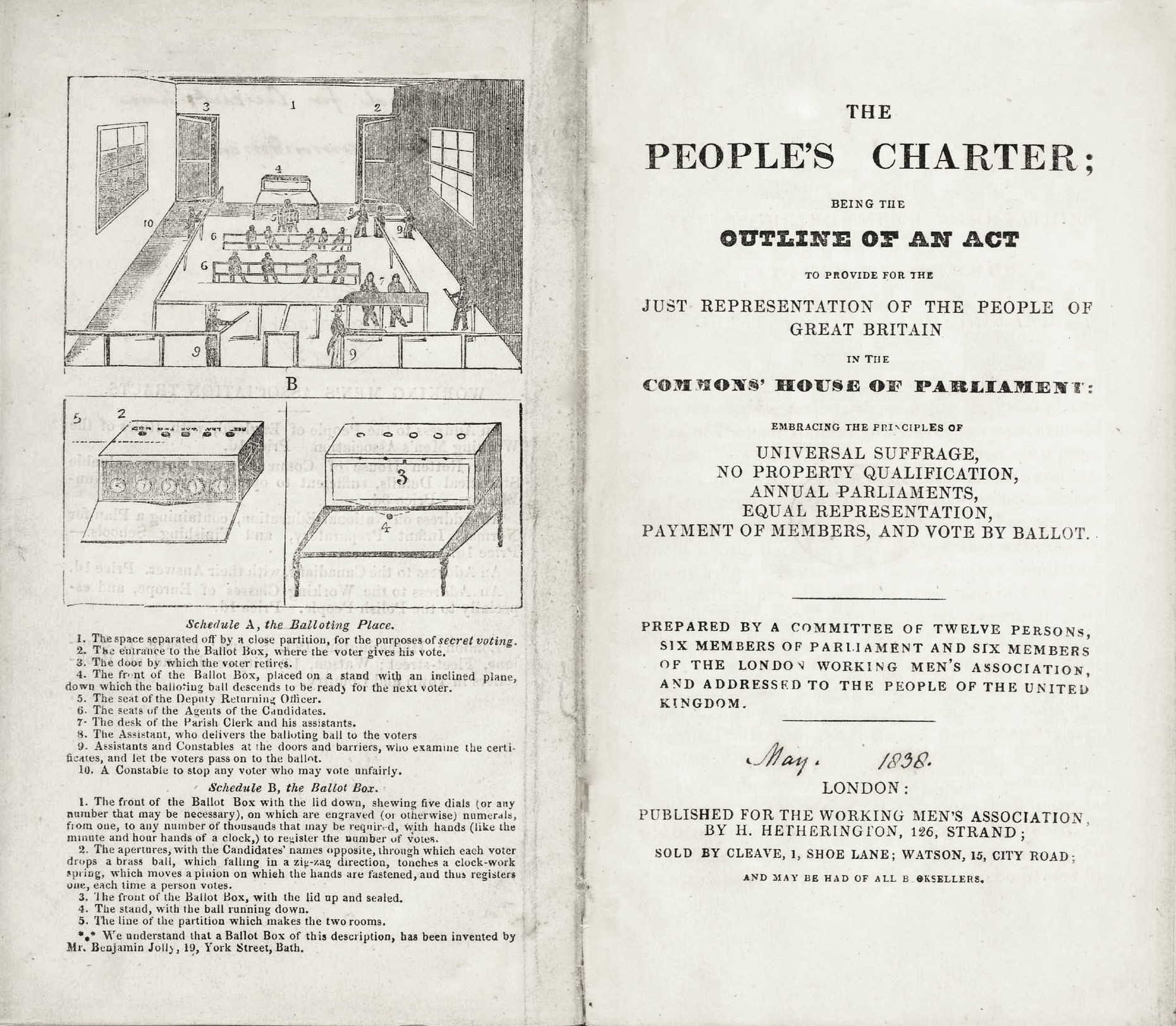 An image of The People's Charter, a document outlining the six key demands of the Chartists, with diagrams for proposed designs for 'the balloting place' and 'the balloting box