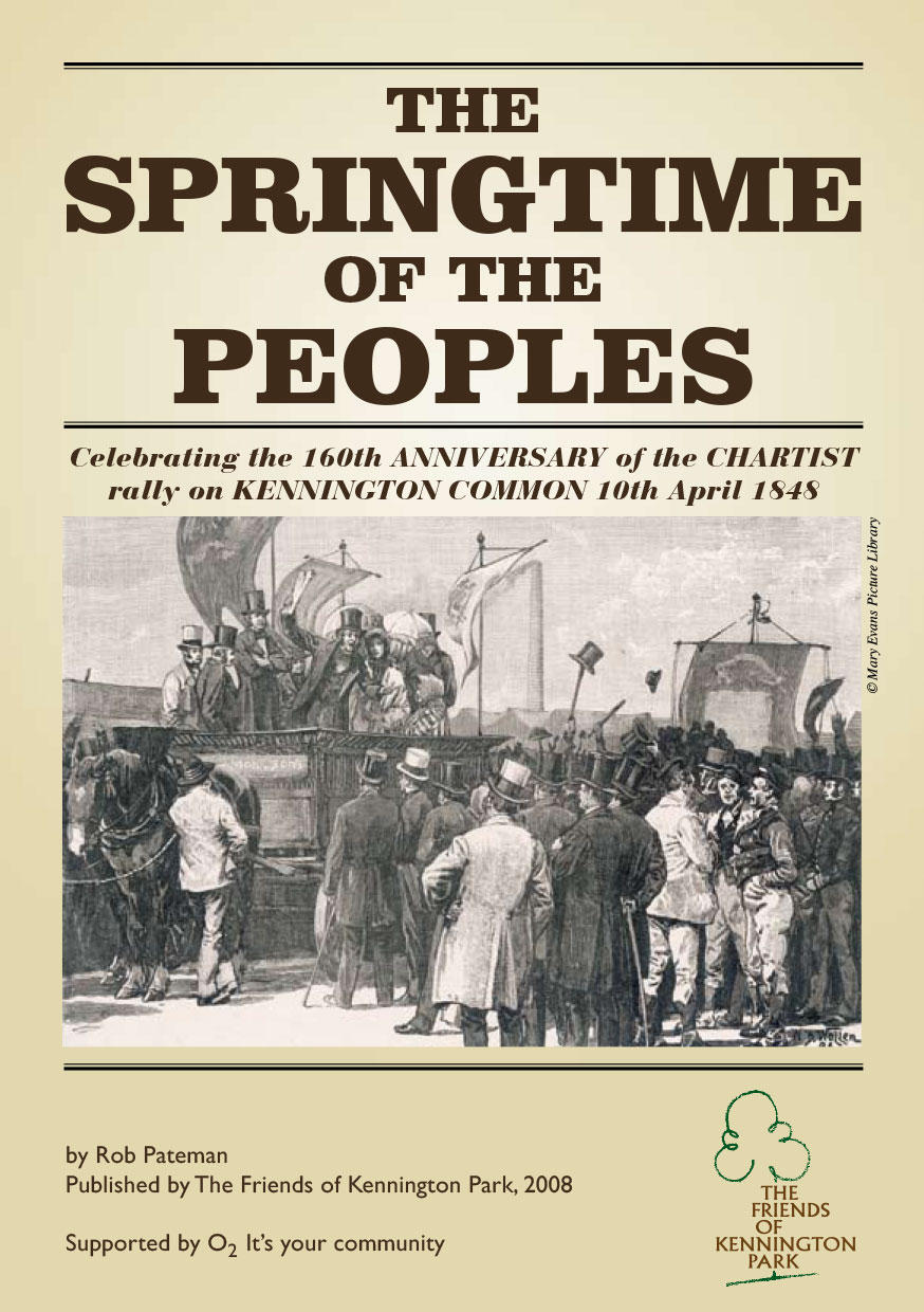 Image of the front cover of pamphlet The Springtime of the Peoples with engraving of Chartist rally showing Chartist leaders speaking to assembled crowd.