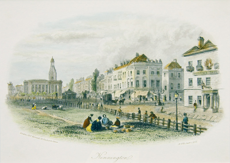The engraving depicts Kennington Common surrounded by a wooden fence
